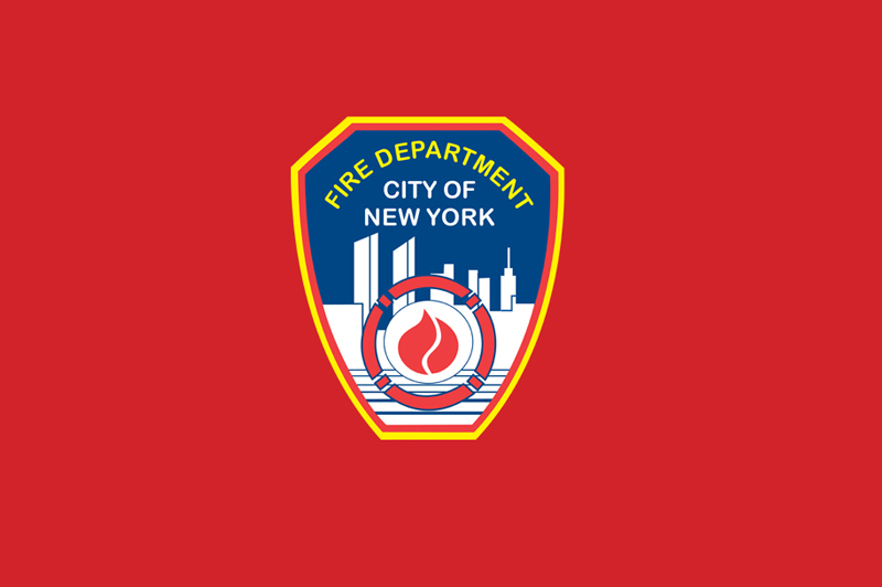 The New York City Fire Department shield on a red background.