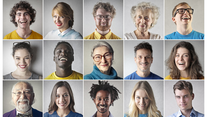 Headshots of smiling people
