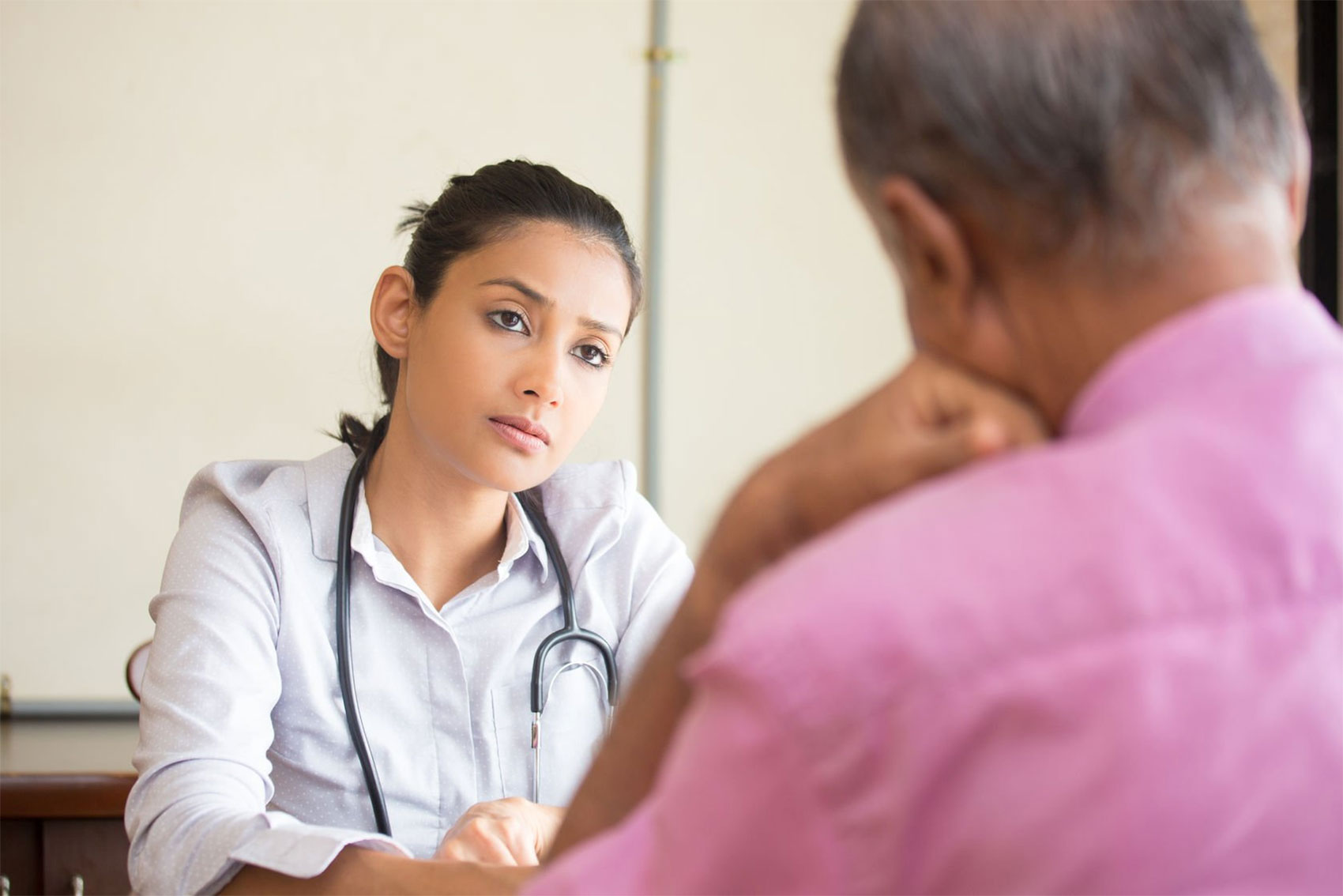 Patient talking with healthcare professional