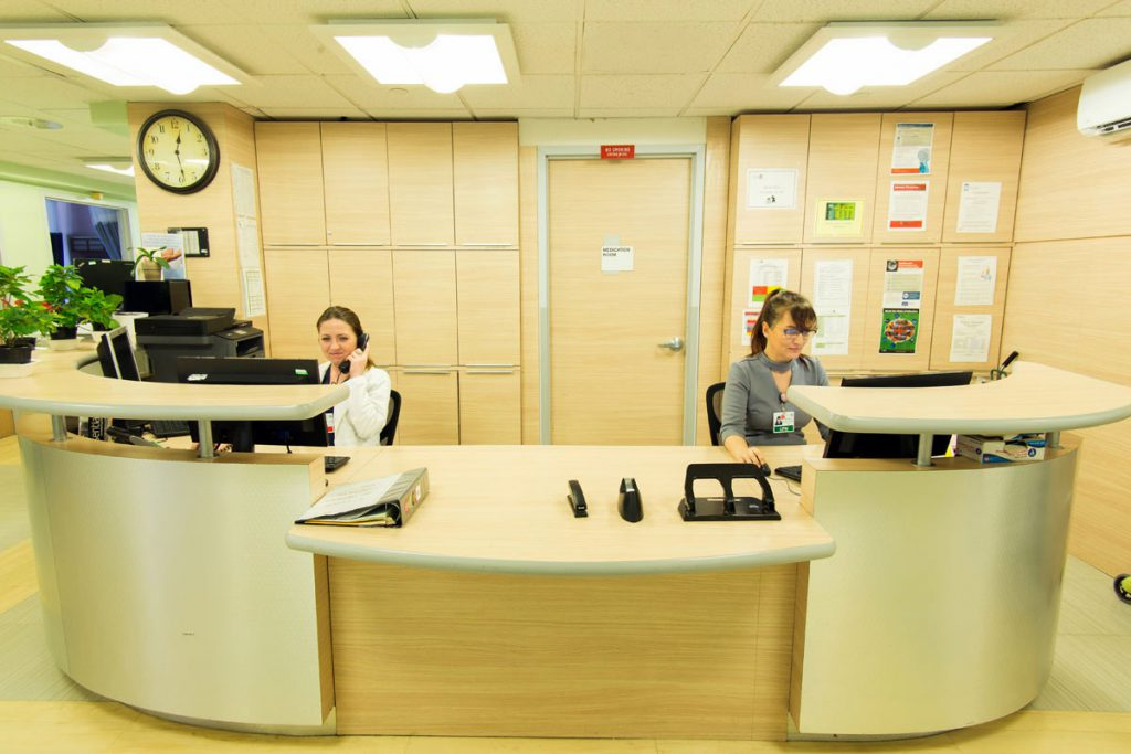 Front Desk with receptionists