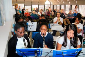 Kids performing music